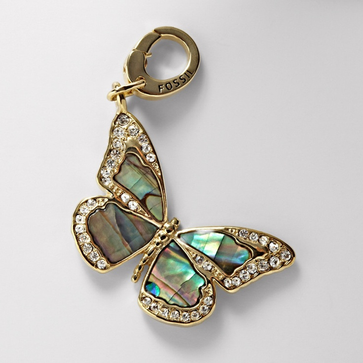 Fossil Abalone Butterfly Charm