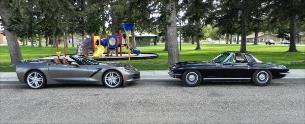 "Then and Now, the 1967 Corvette Stingray Meets a 2015 Corvette Stingray - http://www.carnewscafe.com/2014/11/05/now-1967-corvette-stingray-meets-2015-corvette-stingray/ There are few cars as truly iconic as is Chevrolet's Corvette Stingray. We had the chance to have old meet new as a classic said ""hello"" to the new-generation. Our story begins in 1959 when General Motors unveiled the Corvette Stingray concept, taken largely from the..."