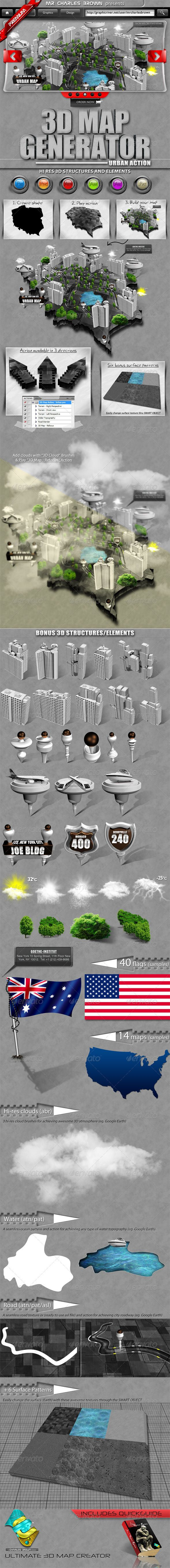 """3D Map Generator – Urban Action  #GraphicRiver         Do you wish to see how it works? Freely download a comprehensive tutorial of this awesome bundle properly prepared by Charles Brown. See how it works -very easy and highly useful. Save the money you would have paid other professionals.      Adobe Photoshop CS3 , CS4, CS5 , CS6, N/A   """"Create an outstanding 3D Map of any real-life city with just ONE -CLICK."""" Bundle includes a comprehensive STEP by STEP guild lines(tutorial).   YOU MAY…"""