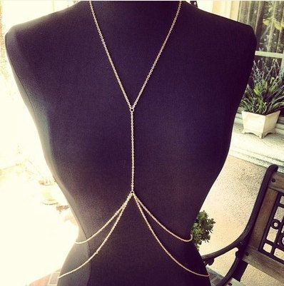 Gold Body Chain Jewelry Harness Necklace by VintageMadeByDucky