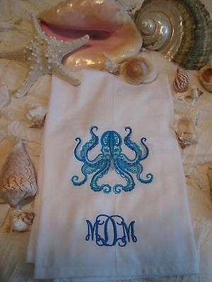 Octopus Nautical Dish Towel Handmade Custom Personalize White & Blue by HanginByAThreadGifts on Etsy