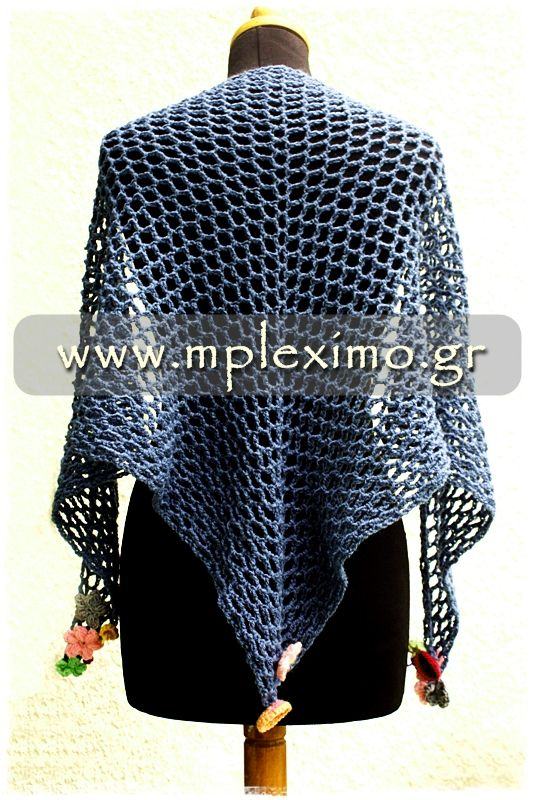 crochet triangle mesh shawl