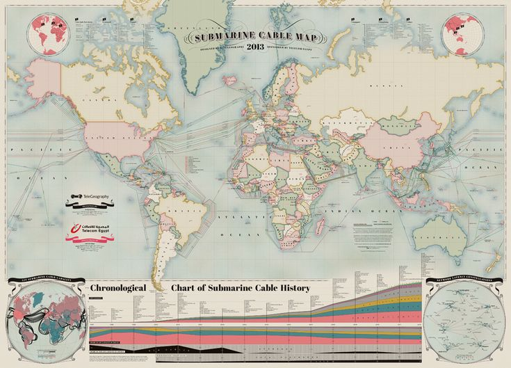 2013 Submarine Cable Map Depicts Communications Cables That Traverse the World's Ocean Floors