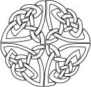 Celtic knot coloring page, shield design, circle knot coloring sheet