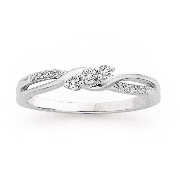 9ct, White Gold Diamond Ring Total Diamond Weight=.15ct