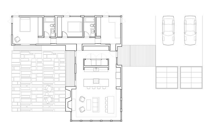 Diseño de casa en forma de L [Planos y fachadas]   Construye Hogar