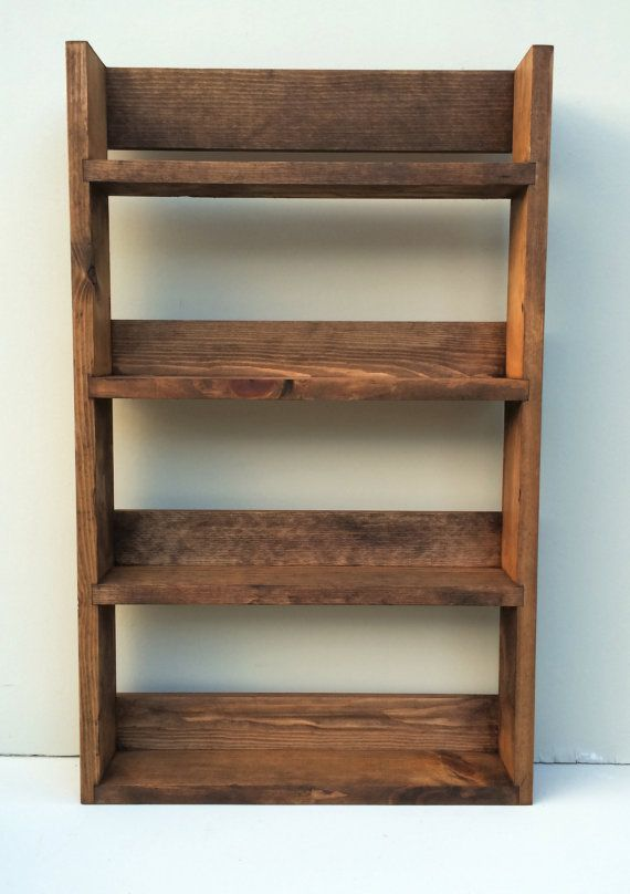 Reclaimed Rustic Spice Rack 4 Shelves 56cm Tall Open Top Dark Oak Finish, Choice of Widths