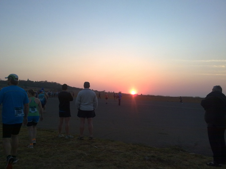 Early morning running event on an airfield. Pretoria, South Africa.