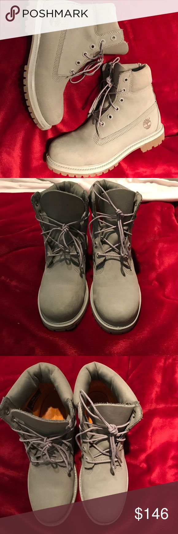 Grey Timberland boots unique grey timberlands, worn maybe 2 times, great condition, but no box. too big for me :( Size: 8. Timberland Shoes Sneakers