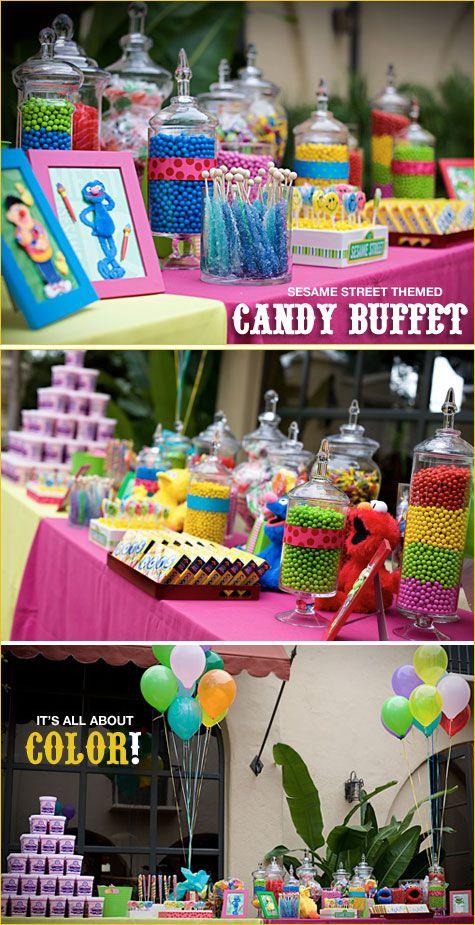 {via http://www.hostessblog.com/2009/07/colorful-sesame-street-candy-buffet/