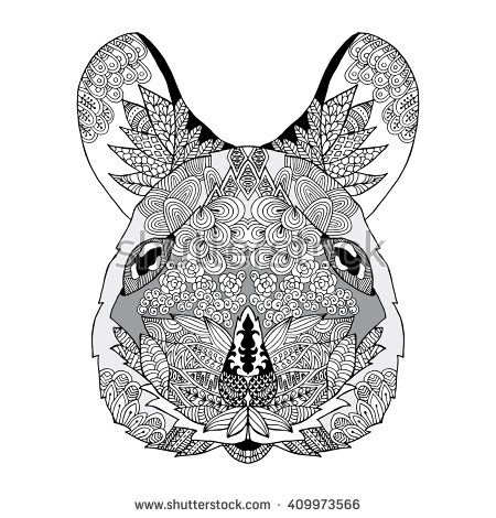 Zentangle stylized doodle vector animal drawing of mouse head. Zen print, poster. Ornate decoration for coloring book sketch.  Ethnic logo, tattoo template.