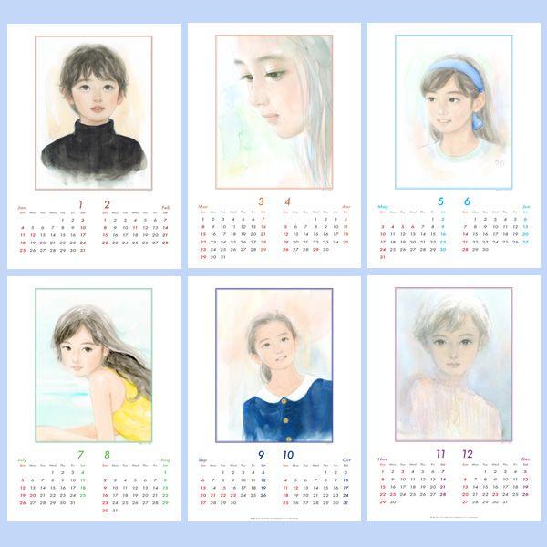 2015年おおた慶文「少女画」壁掛けカレンダー詳細