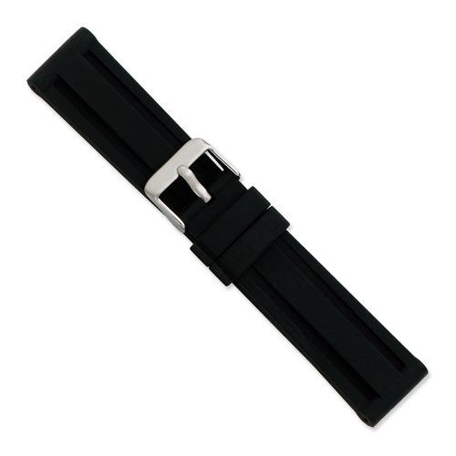 22mm Blk Grooved Silicone Rubber Slvr-tone Bkle Watch Band Size 22 | Pebble Watch Bands