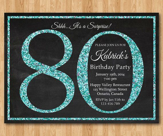 80th birthday invitation. Tiffany Blue Glitter Birthday Party invite. Aqua, Turquoise. Adult Surprise Party. Elegant. Printable digital DIY
