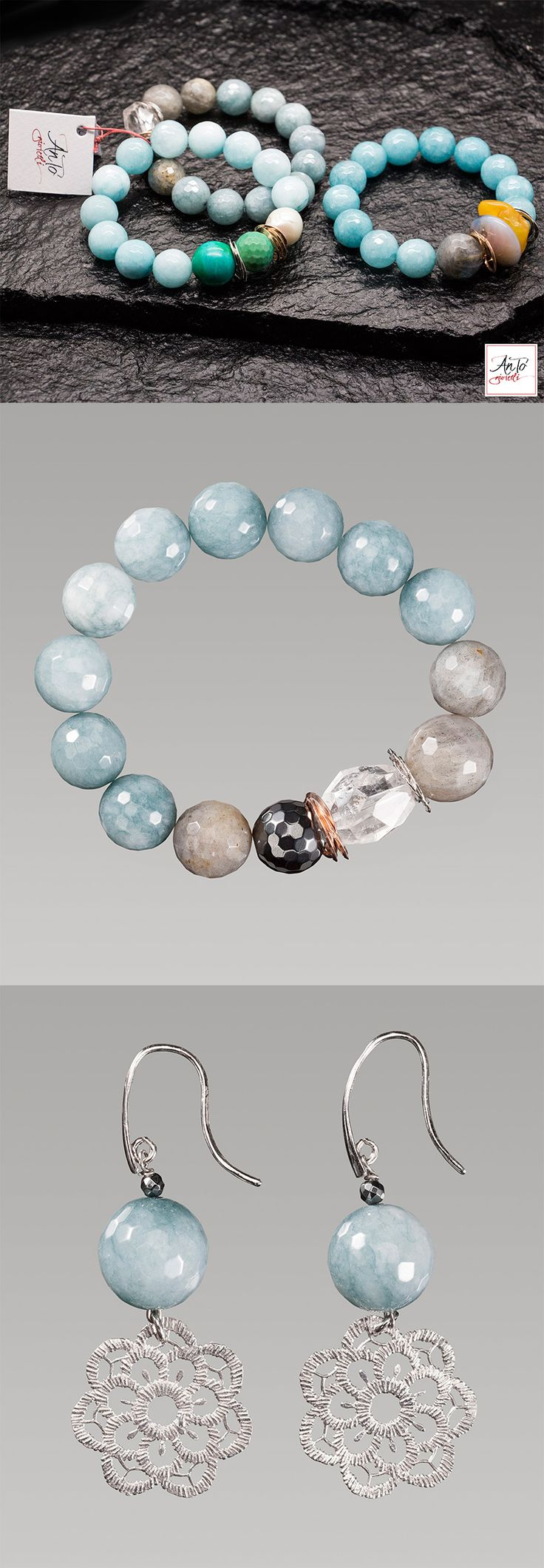 Bracelet: 49€ Earring: 52€  Shipping free!!! Handmade in Italy.  Beautiful light blue bracelet, with blue Jade stone and Crystal. Details Silver 925, without Nichel. Buy it on our website: http://www.antogioielli.it/50-azzurro-blu