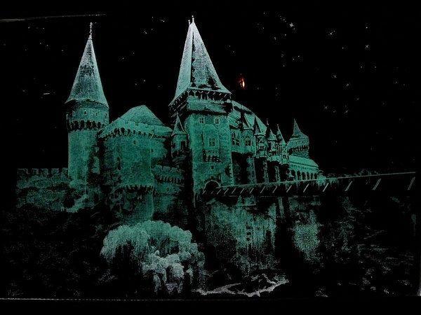 """Картина """"Замок Дракулы"""" 40*60см Художественная гравировка по стеклу"""