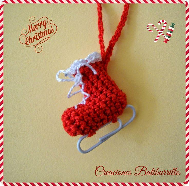 patn sobre hielo adorno de crochet para navidad