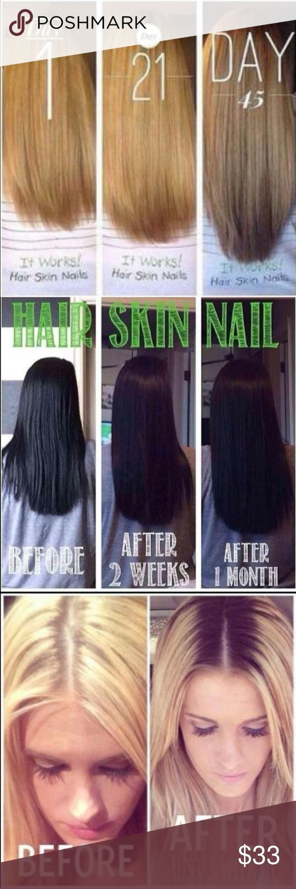 """Itworks hair skin nails models needed It works hair models needed! 90 day challenge to grow your hair and nails for fall at my price! comment """"long hair"""" for details. I still have a few spots left!  **DONT BUY THIS LISTING** Other"""