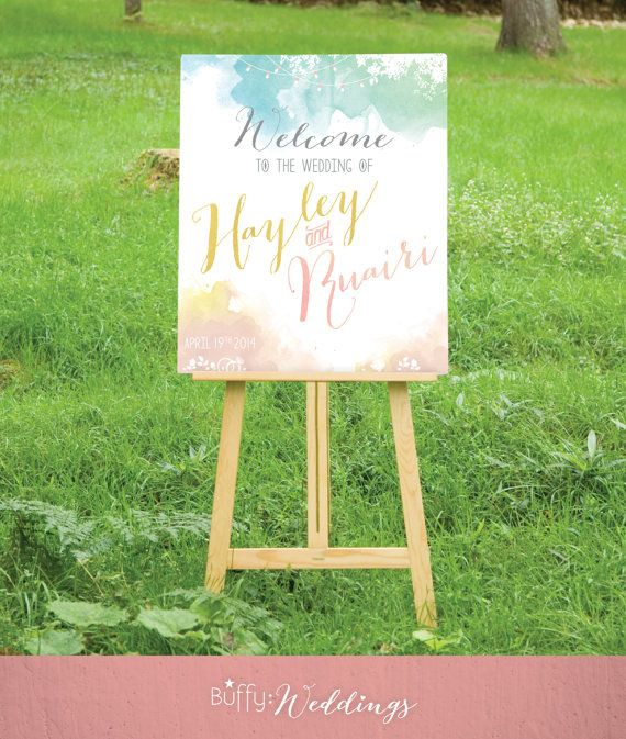 The HAYLEY . Wedding Welcome Sign . Watercolor & Calligraphy Blush yellow teal blue . Custom Outdoor Party Birthday Sign . PDF