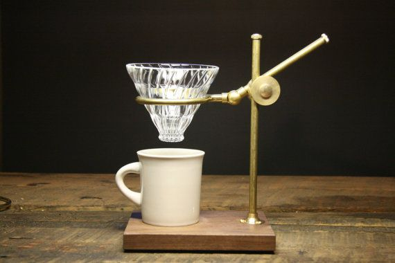 Crafted from brass in a Victorian style, The Professor utilizes the Hario V60 glass pour over (included) resting on the ring to adjust to the