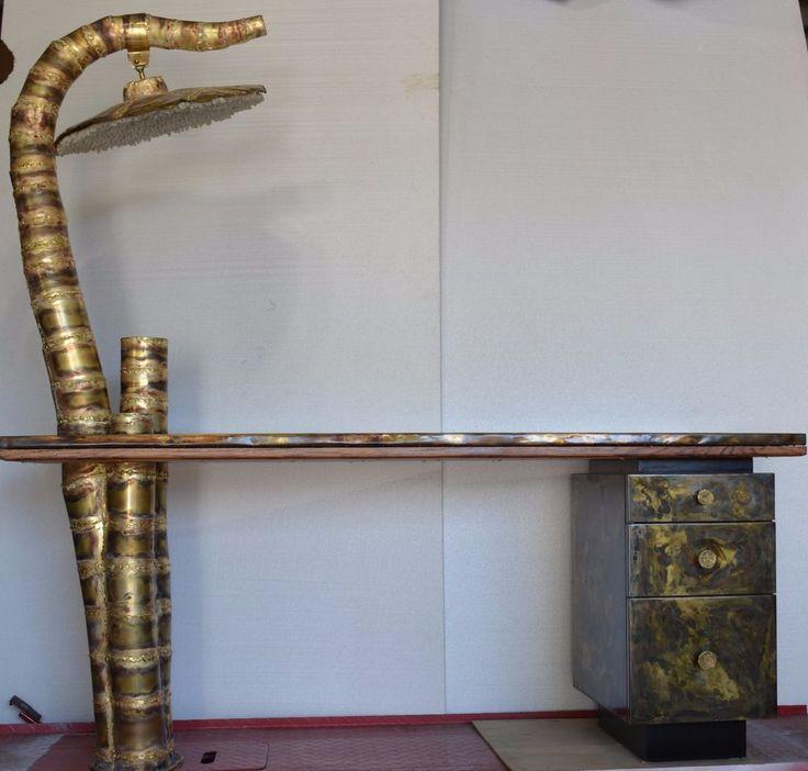 brass Brutalist design Unique Handmade Sophisticated DESK   | eBay