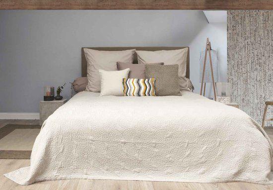 HnL Living Premium - Bedsprei - Perkal -  270 x 260 cm  - Beige