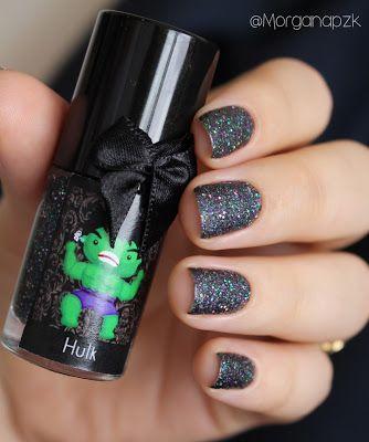 "Esmalte ""Hulk"" da Esmaltes da Kelly. Nails by @morganapzk. Indie Polish. Glitter. Glamour. Nail art. Sand. Esmalte texturizado de tanto glitter."