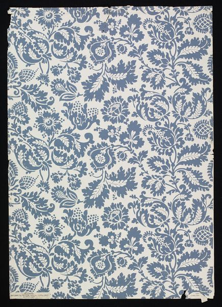Wallpaper sample   Designed by William Morris (1834-1896) for Morris & Co. (publisher)   Colour woodblock print on paper   London, England, ca. 1868-1870   Specimen of 'Venetian' wallpaper, a floral design, blue on a white ground   VA Museum, London