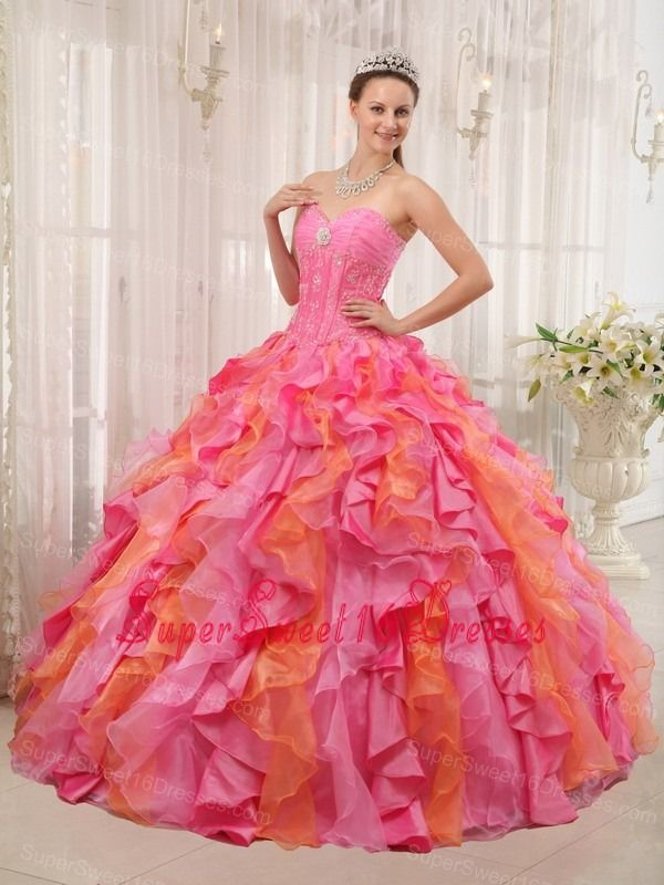 Elegant Multi-color Sweet 16 Dress Sweetheart Organza Appliques Ball Gown
