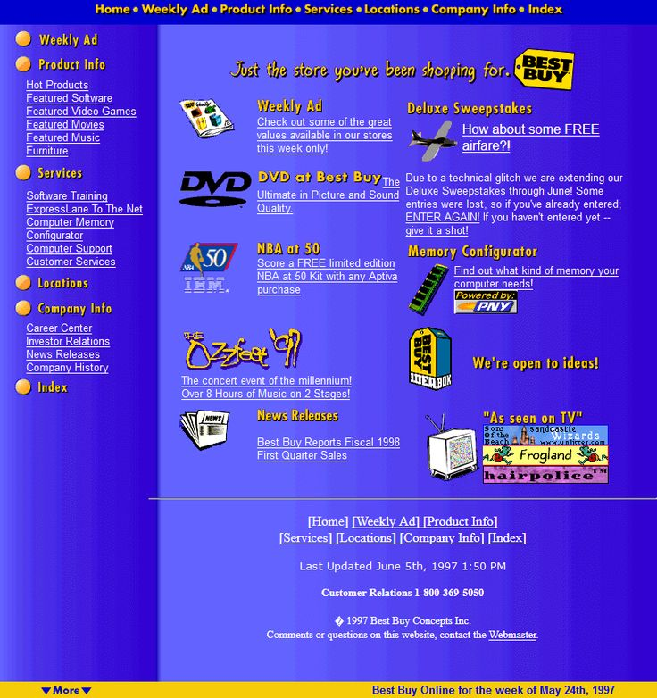 Best Buy website in 1997