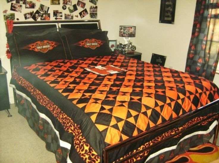 my niece and her husband are big harley riders so she got this big idea to decorate her bedroom in harley decor well guess who got to make the quilt and