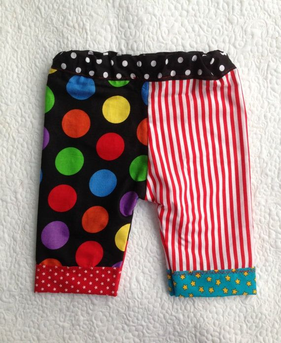 SALE RTS Unisex 3 - 6 month CiRCuS CLoWN Pants BaBY PHoTO PRoP Boy Girl Costume CoLORFuL Dots Stripes HaND SeWN Cloth Pants PaRTY HaLLoWeeN