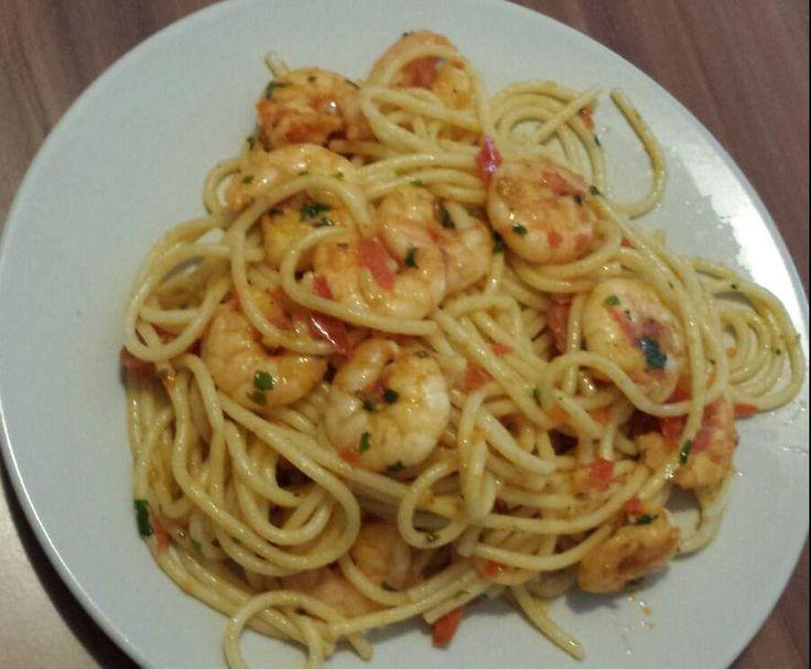 Rezept Spaghetti mit Chiligarnelen von jessyj88 - Rezept der Kategorie Hauptgerichte mit Fisch & Meeresfrüchten