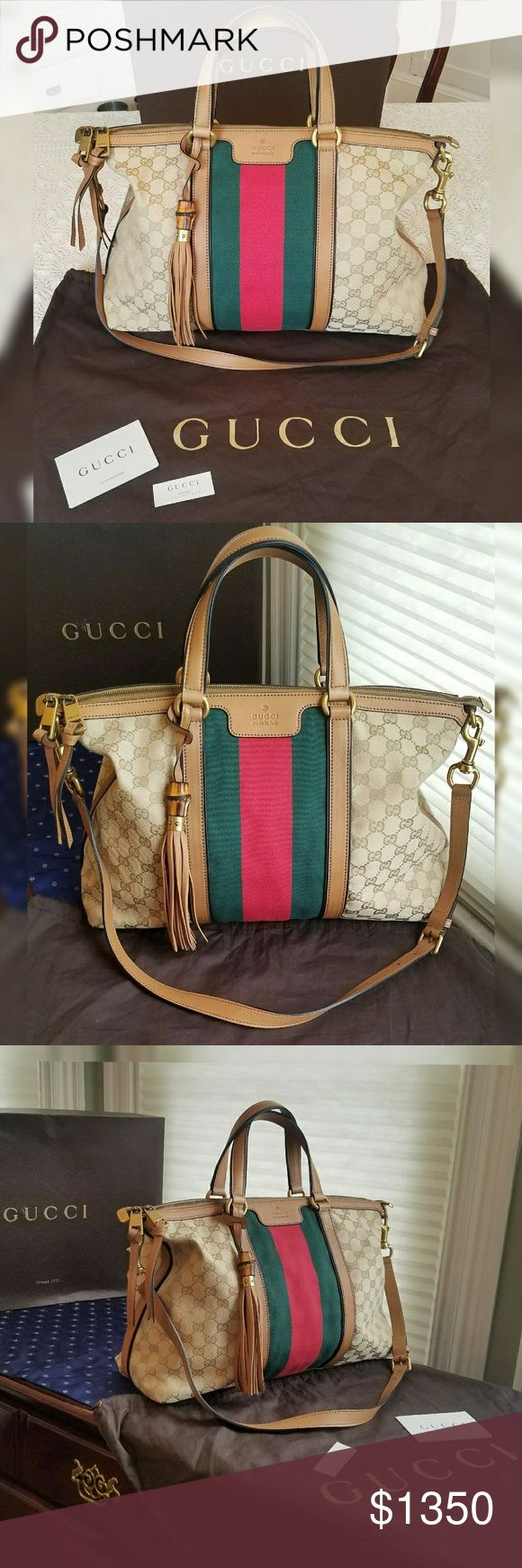 """GUCCI RANIA GG CLASSIC VINTAGE WEB CANVAS BAG Original beige khaki GG canvas with tan/ sand leather detail and green and red nylon Web Embossed Gucci crest on the front Piping construction and black hand-painted edges Protective metal feet Interior zip and smart phone pockets Top handle with 4.7"""" drop Detachable and adjustable shoulder strap with 15.3"""" drop Double top zip closure with knotted double zip closures Medium16""""W x 11""""H x 5""""D Mint condition and never carried. One scratch to…"""