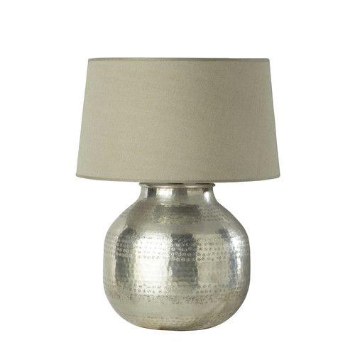 Metalen WASSILA lamp met stoffen lampenkap H 64 cm