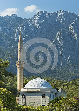 View on the small mosque in Kemer , Turkey