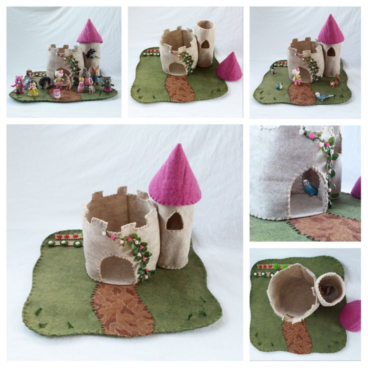 Pink Castle Turret Playscape Play Mat Felt Pretend Open-ended Fairytale Princess Dragon storytelling small world storybook garden rose toy by MyBigWorld2015 on Etsy
