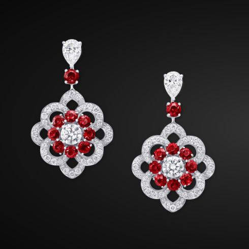 Graff Ruby And Diamond Rosette Earrings Jewellery Jewelry