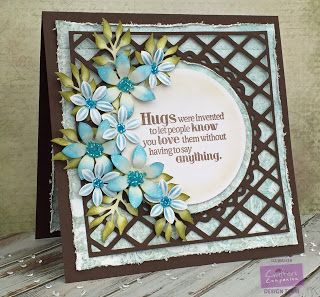 Card made for Crafter's Companion with the Sara Signature Floral Delight Pretty Petals die Wild Flower Trio dies, Sentimetals Love is all you need stamp set, Die'sire Ornate Lattice Create-a-card die. Made by Liz Walker.