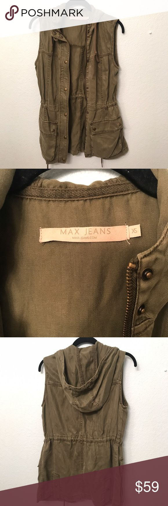 Max-Jeans Hooded Vest Khaki vest with button front closure Max Jeans Jackets & Coats Vests