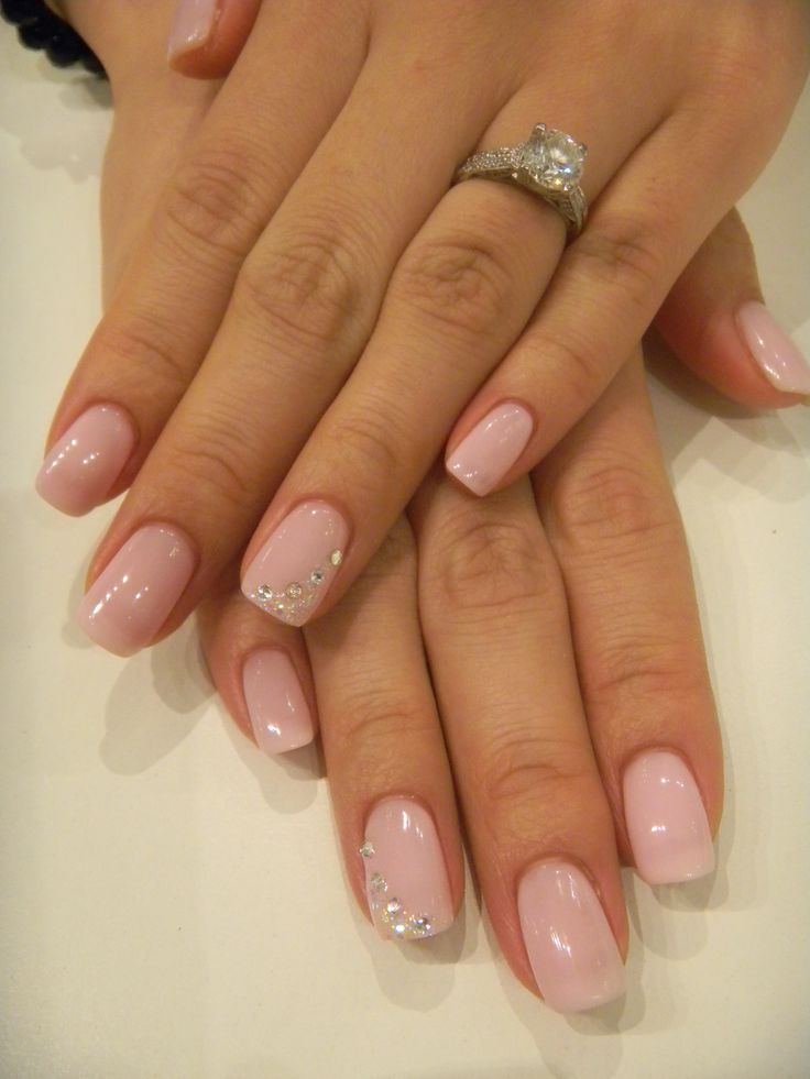 Bio Sculpture Gel colour #68 - Rose with a nice swoop of irridescent glitter and rhinestones
