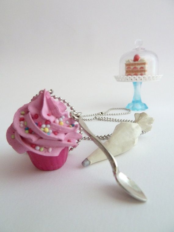 Cupcake necklace and small spoon Charm fake cupcake polymer