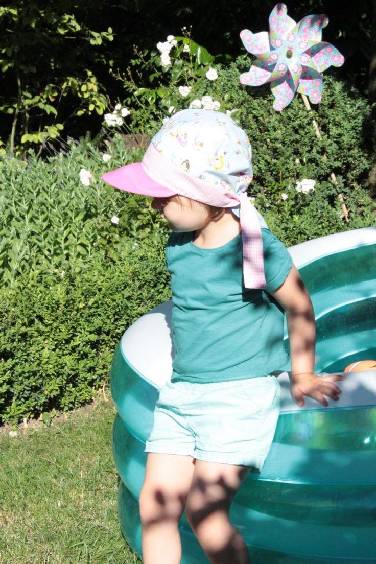 DIY: Sommermütze selber nähen inkl. Schnittmuster / Schritt-für-Schritt Anleitung für eine Variante aus Kopftuch und Basecap für Kinder / Nackenschutz / Sommerhut / Nähen für Kinder
