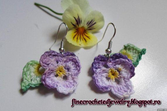 Unique Crochet Pansy Earringsdelicate for by FineCrochetedJewelry, $10.00