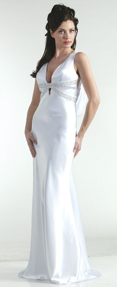 Elegant Empire V-Neck Floor Length Beading White Prom Dress  $243.99