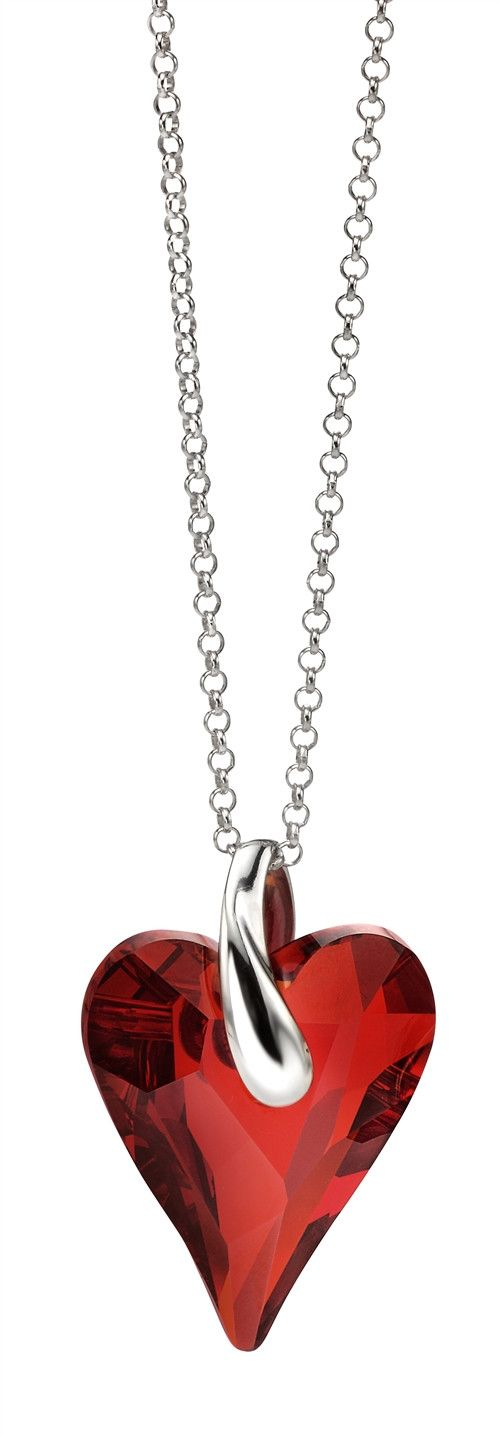 Fiorelli Silver Red Heart Pendant Necklace With Swarovski Elements - yourgifthouse