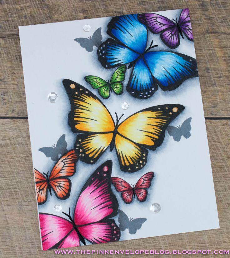 Открытка конверт с бабочками, желаю