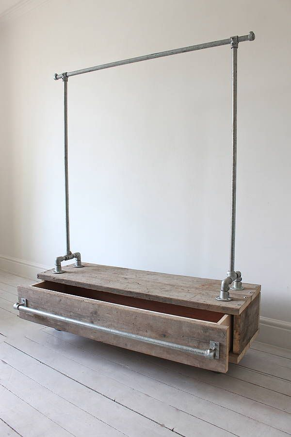 Galvanised Steel Pipe Clothes Rail with Reclaimed Scaffolding Wood Drawer - Bespoke Urban Industrial Furniture  for hanging clothes or other items on a unit that can be moved- great for small spaces or for guests or caregivers.