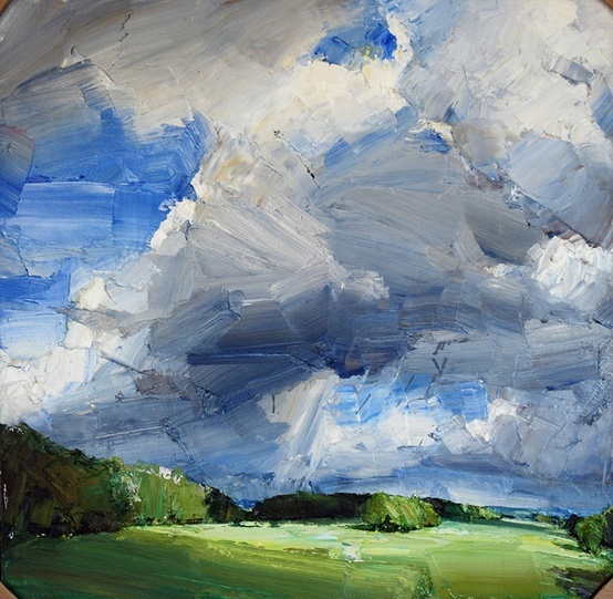 Palette knife. Beautiful use of gray, light and bright colors...