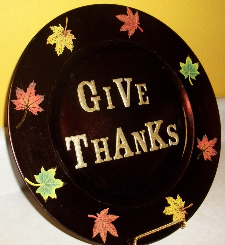 Give thanks decorative charger plate #Thanksgiving #charger plates & 314 best Charger Plates decorated images on Pinterest   Charger ...